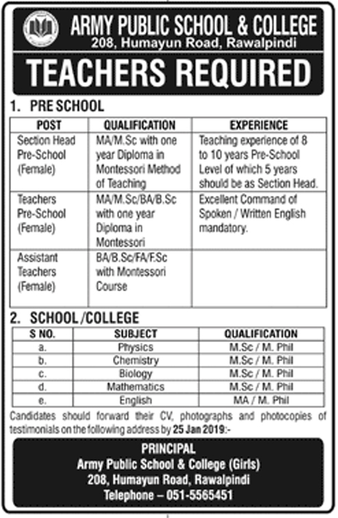 Jobs Announces In Army Public School And College Rawalpindi At 18 Jan 2019