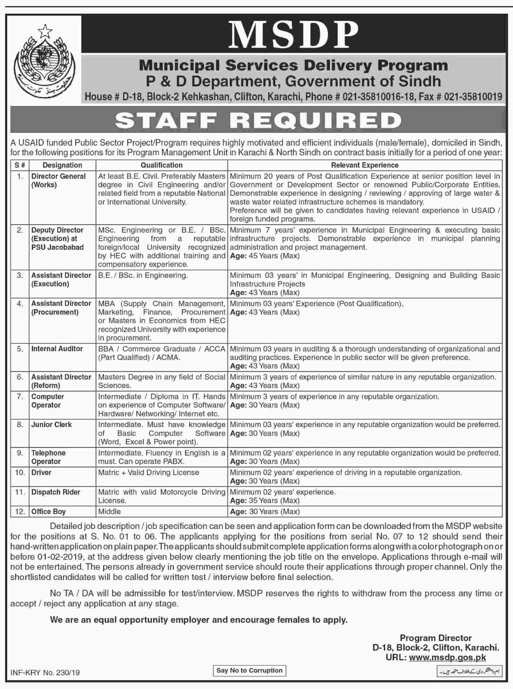 Jobs Announces In Municipal Services Delivery Program Sindh At 18 Jan 2019
