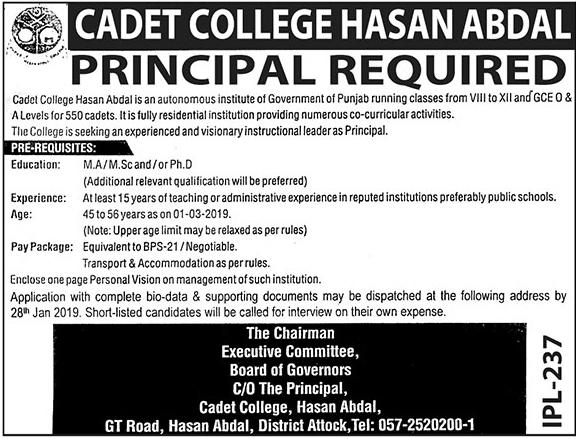 Jobs In Cadet College Hasan Abdal 11 Jan 2019