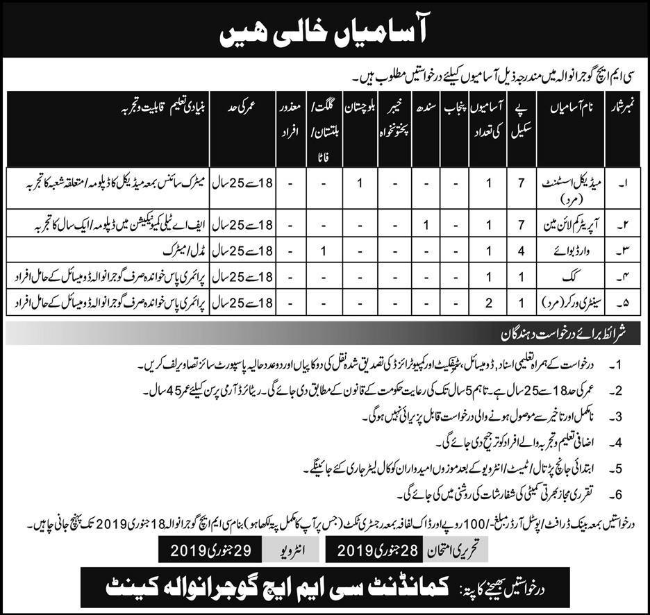 Jobs In Combined Military Hospital CMH Gujranwala 06 Jan 2019