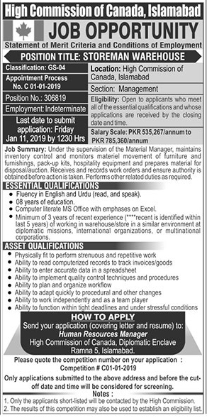 Jobs In High Commission Of Canada Islamabad 06 Jan 2019