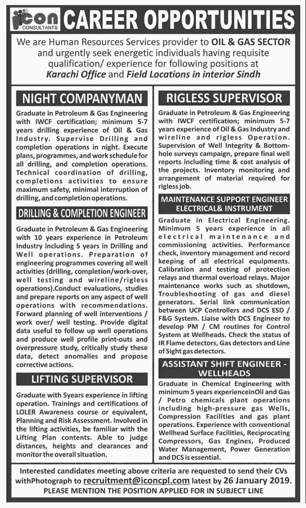 Jobs In Icon Consulting Pvt Limited 14 Jan 2019
