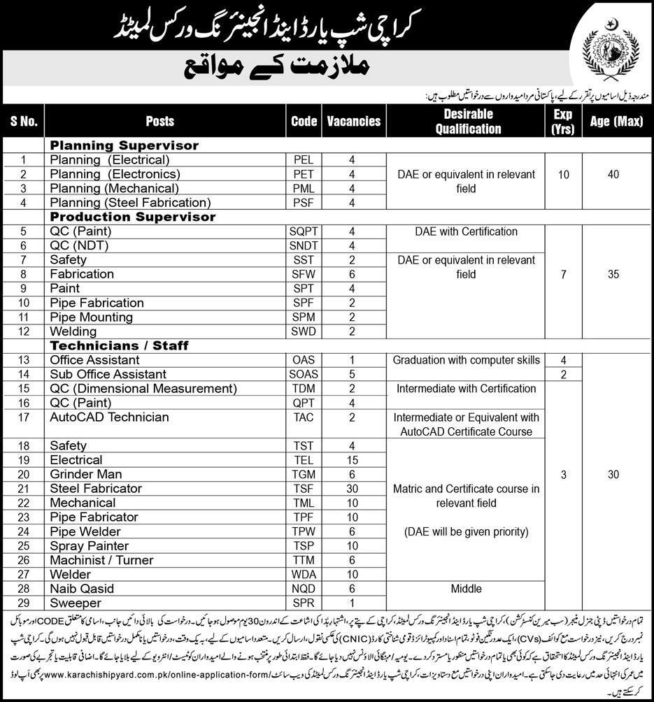 Jobs In Karachi Shipyard And Engineering Works Limited 06 Jan 2019