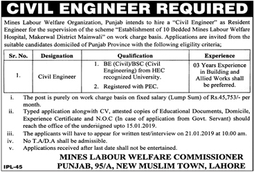 Jobs In Mines Labour Welfare Commission 05 Jan 2019