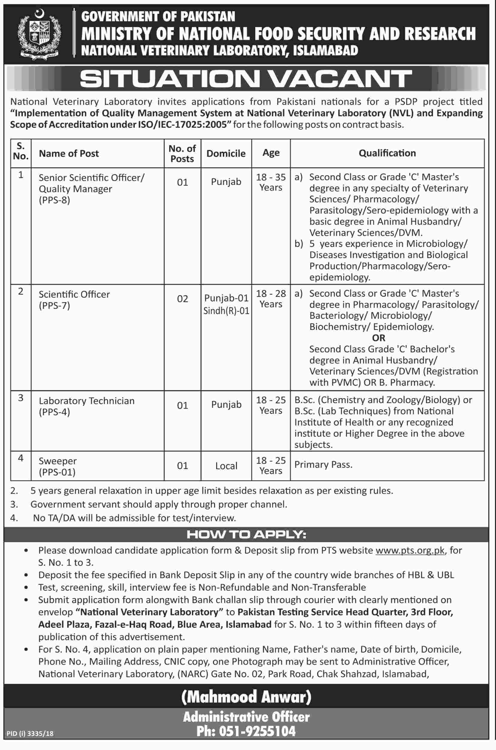 Jobs In Ministry Of National Food And Security Research 23 Jan 2019