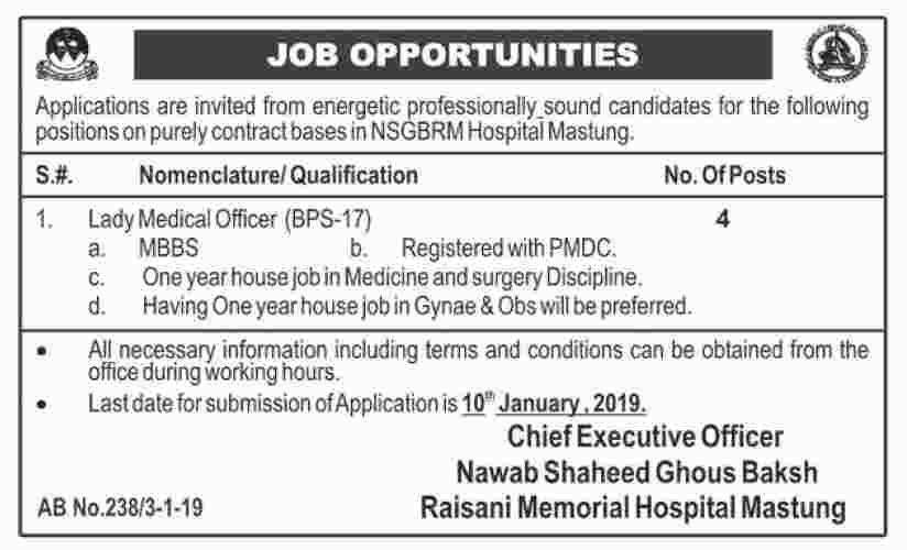 Jobs In Nawab Shaheed Ghous Bakhsh Raisani Memorial Hospital Mastung 04 Jan 2019