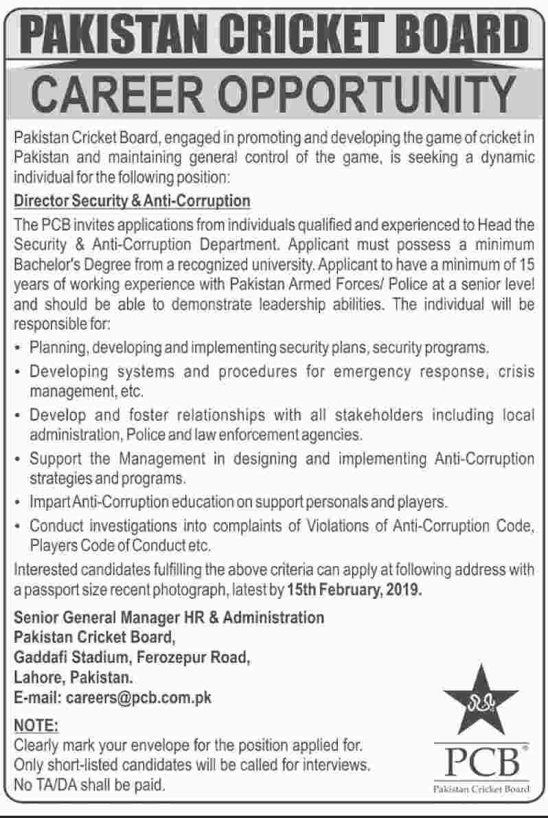 Jobs In Pakistan Cricket Board PCB 30 Jan 2019