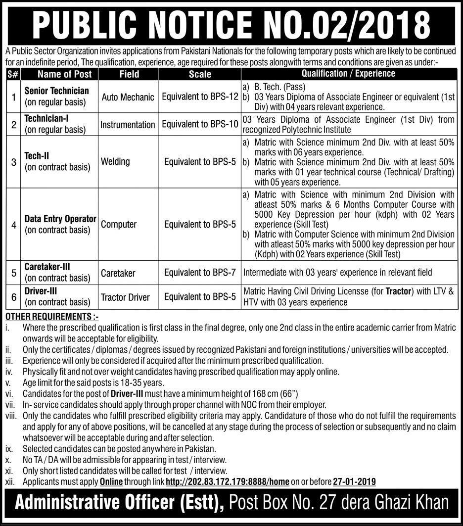 Jobs in Public Sector Organization DG Khan 06 Jan 2019