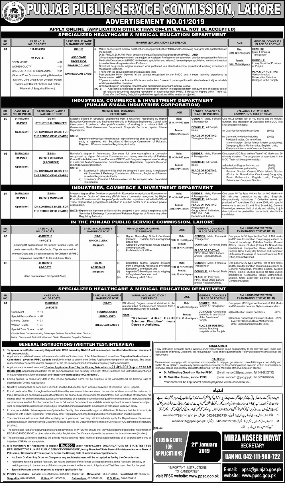 Jobs In Punjab Public Service Commission PPSC 06 Jan 2019