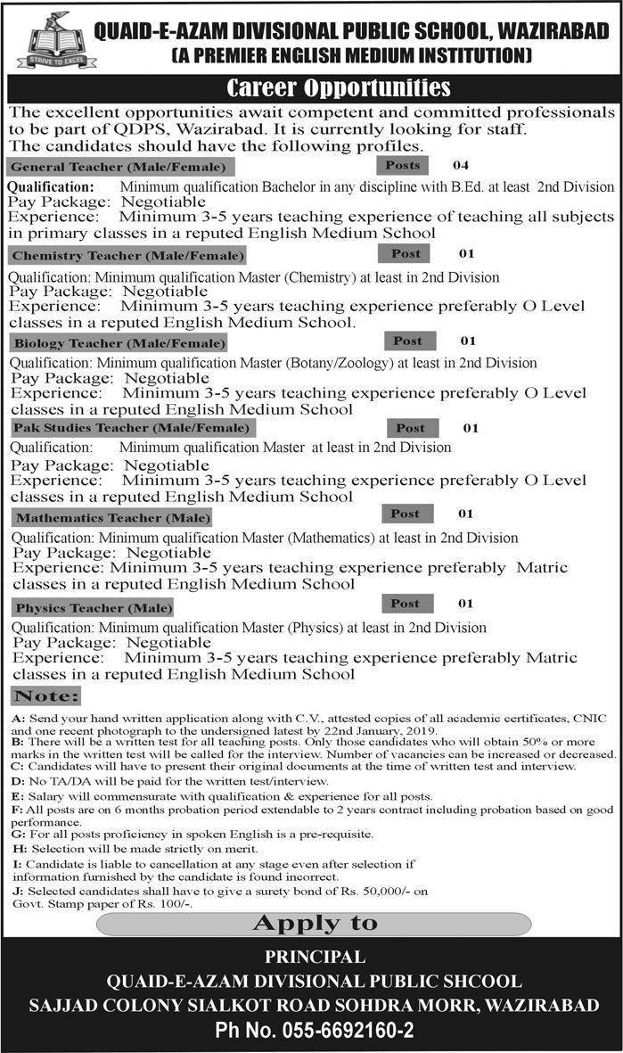 Jobs In Quaid E Azam Divisional Public School 06 Jan 2019