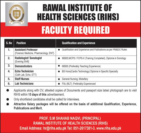 Jobs In Rawal Institute Of Health Sciences 16 Jan 2019