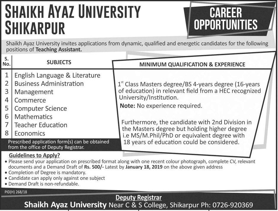 Jobs In Shaikh Ayaz University Shikarpur 03 Jan 2019