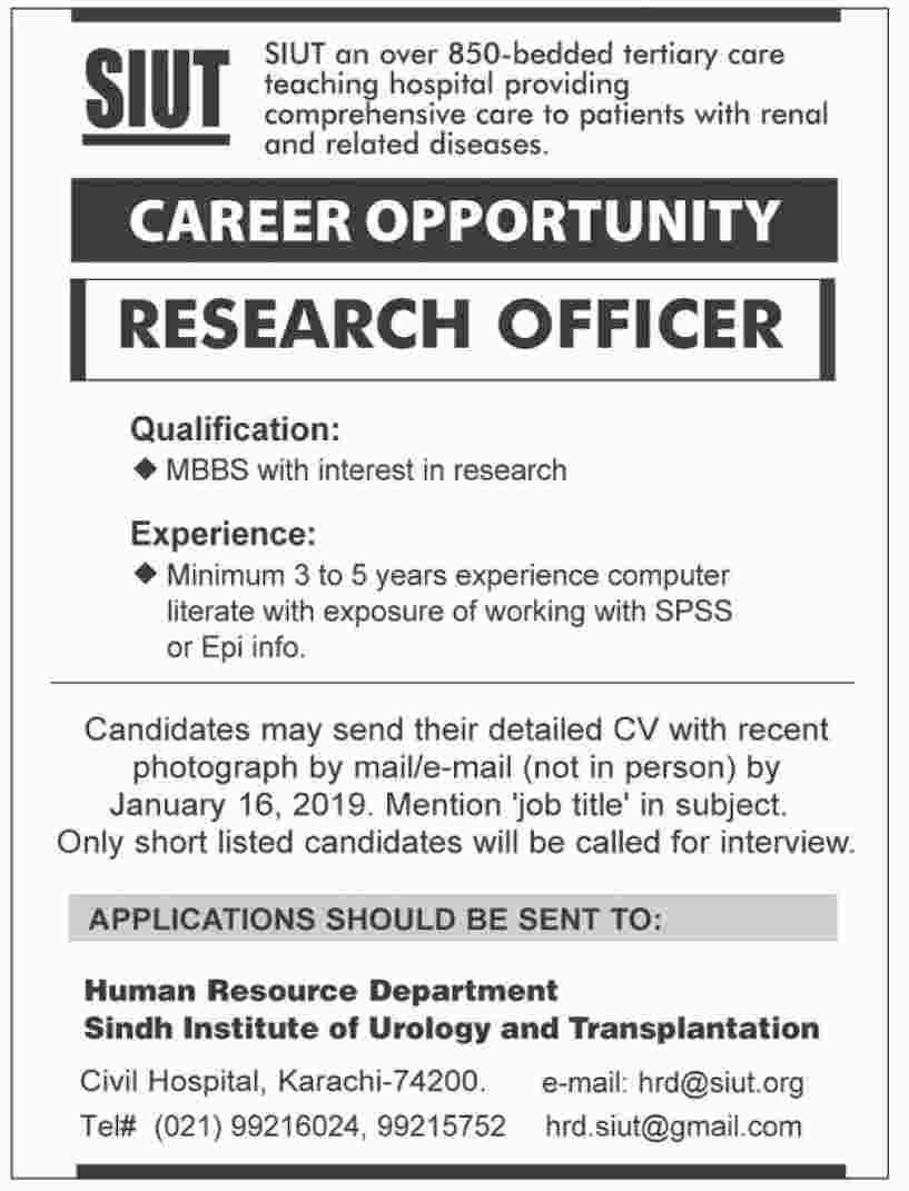 Jobs In Sindh Institute Of Urology And Transplantation 07 Jan 2019