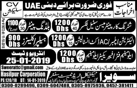 Swera Technical Trade Test Center Announced Jobs in Dubai UAE