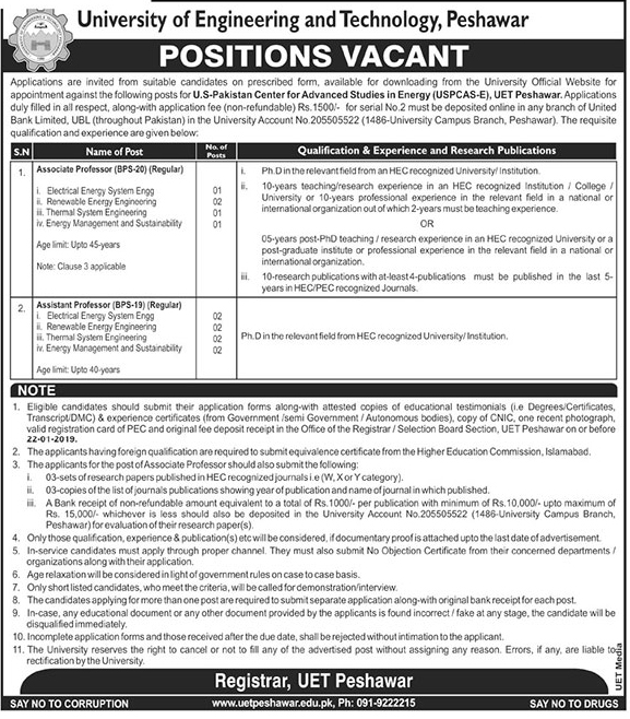 obs In University Of Engineering And Technology Peshawar 04 Jan 2019 Applications are invited from suitable candidates on prescribed form, available for downloading from the univeristy official website for appointment against the following for