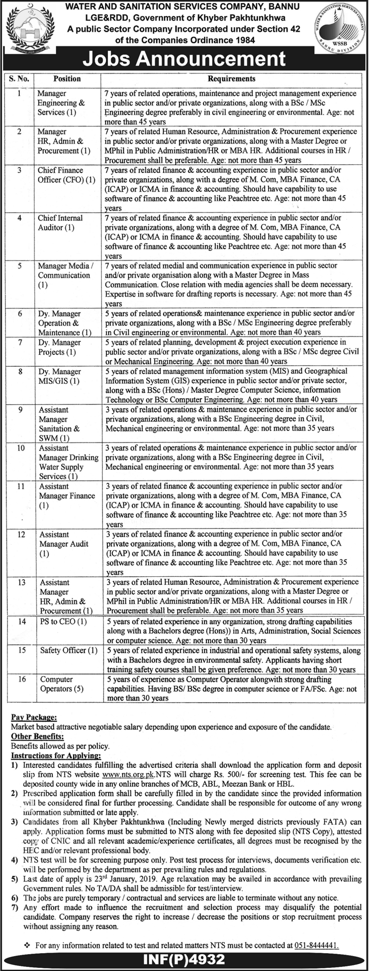 NTS Latest Jobs In Water And Sanitation Services Company Bannu 08 Jan 2019