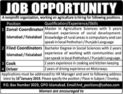 Zonal Coordinator, Field Coordinator, Cook, Driver Required In Islamabad 09 Jan 2019