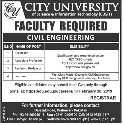 Jobs In City University Of Science And Information Technology Peshawar 20 Feb 2019