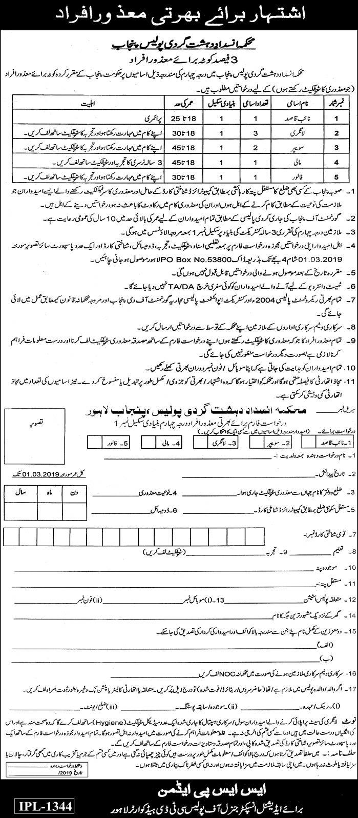 National CTD Jobs Latest 2019 - Jobs in CTD Police