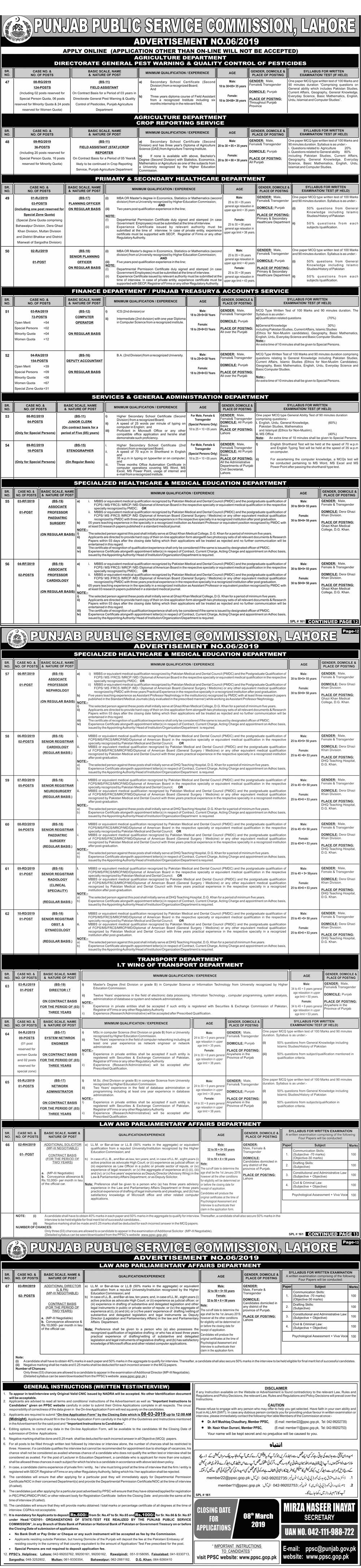 Jobs In Punjab Public Service Commission PPSC 21 Feb 2019