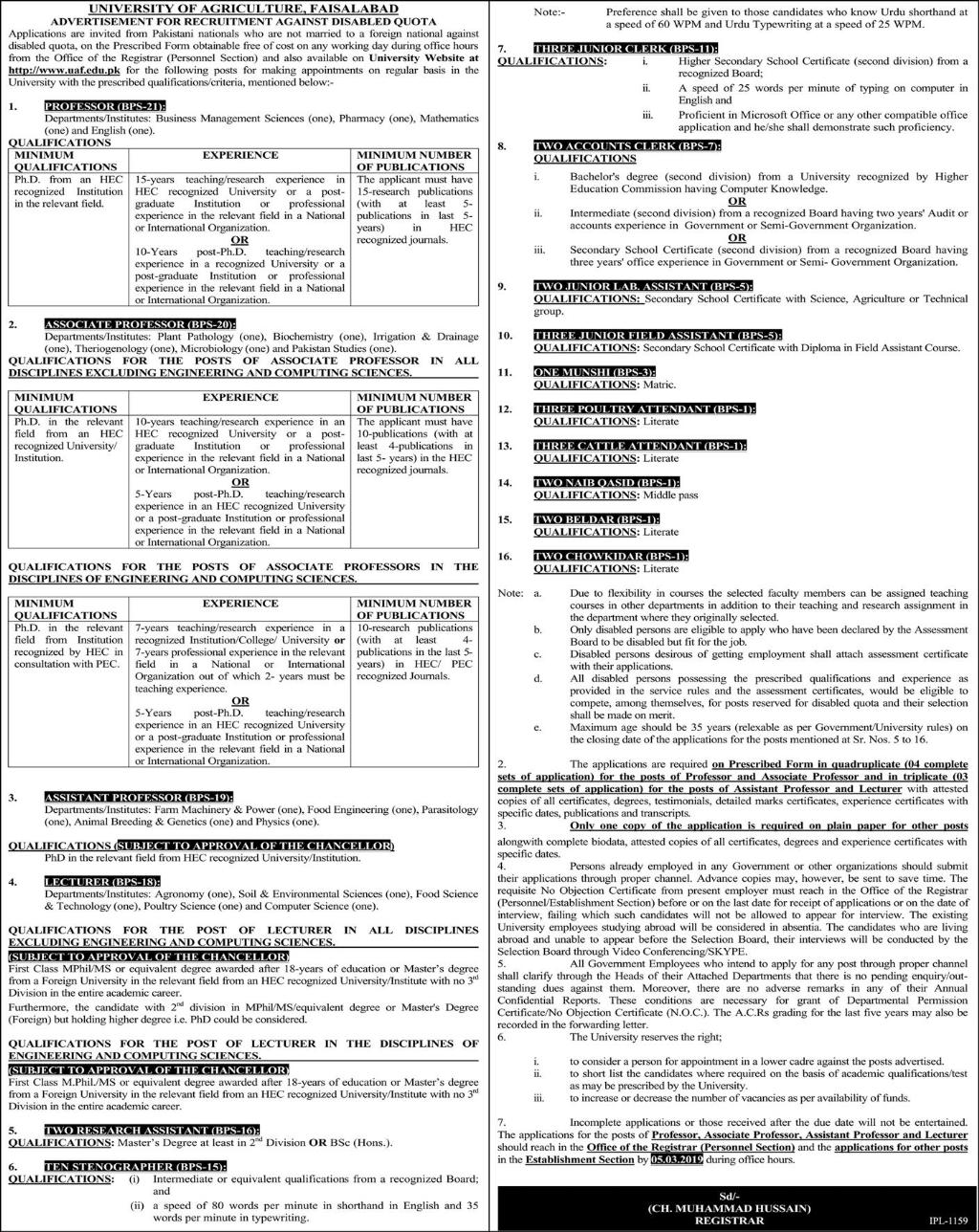 Jobs In University Of Agriculture Faisalabad 07 Feb 2019