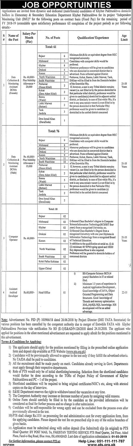 PTS Jobs In Elementary And Secondary Education Department 16 Feb 2019