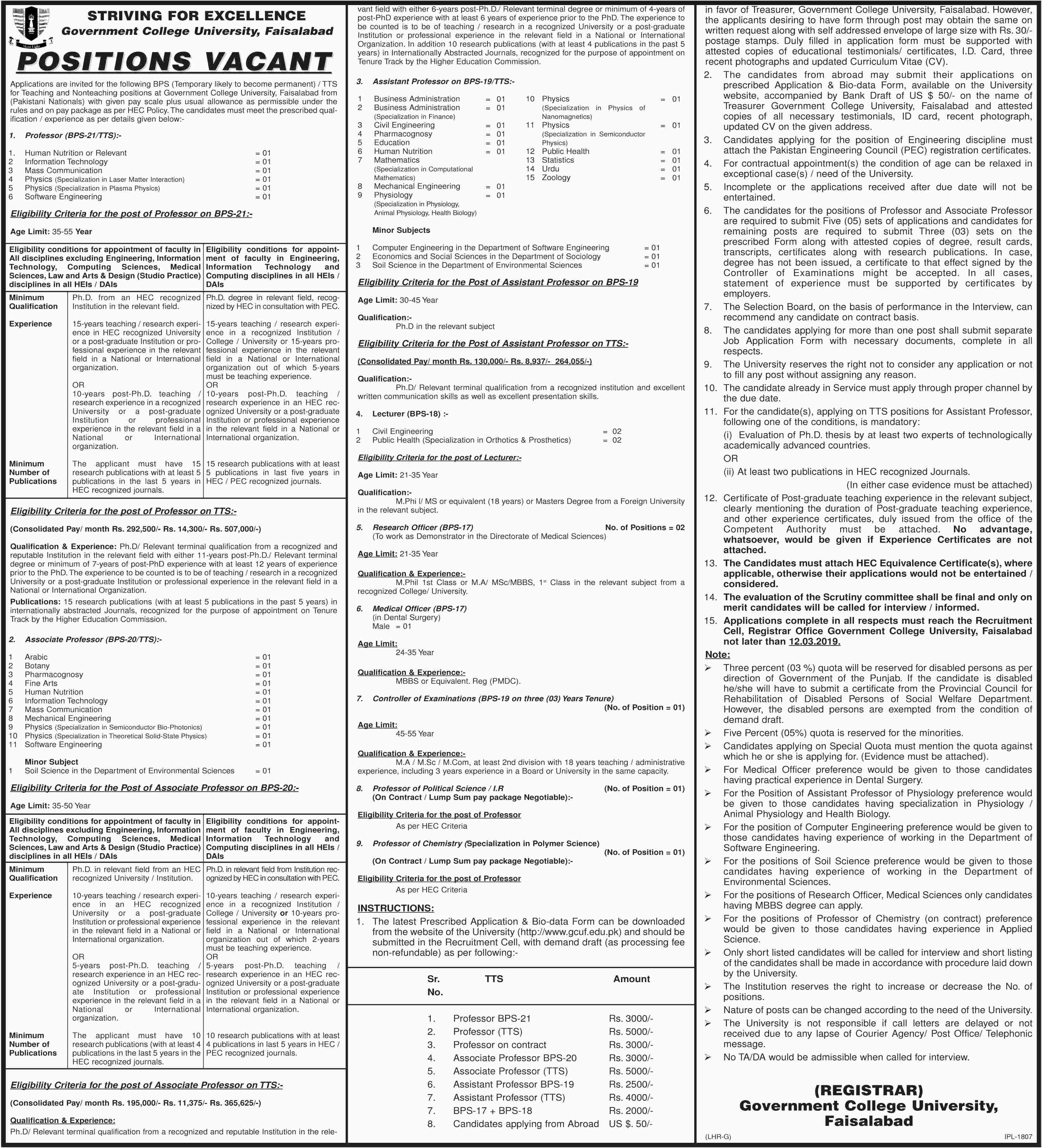 Jobs In Govt College GC University Faisalabad 01 Mar 2019