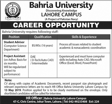 Jobs In Bahria University Lahore Campus 28 April 2019