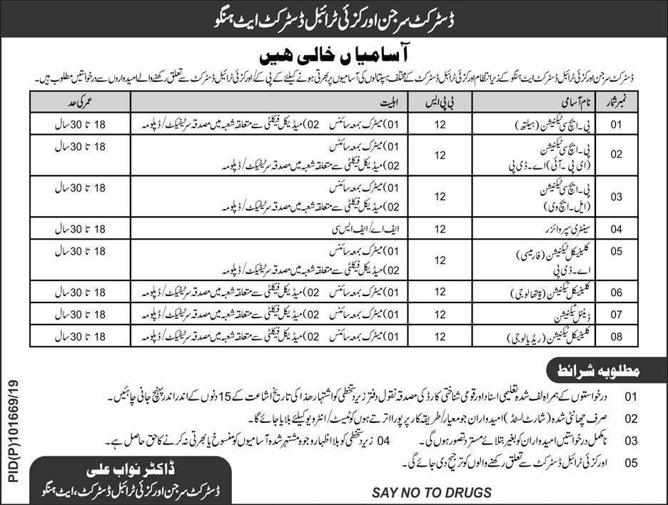 Jobs In Health Department Govt Of KPK 13 Apr 2019