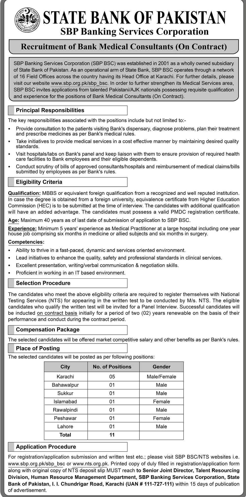 NTS Jobs In State Bank Of Pakistan 26 Apr 2019
