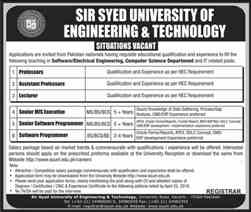 Sir Syed University of Engineering and Technology Jobs Latest 2019