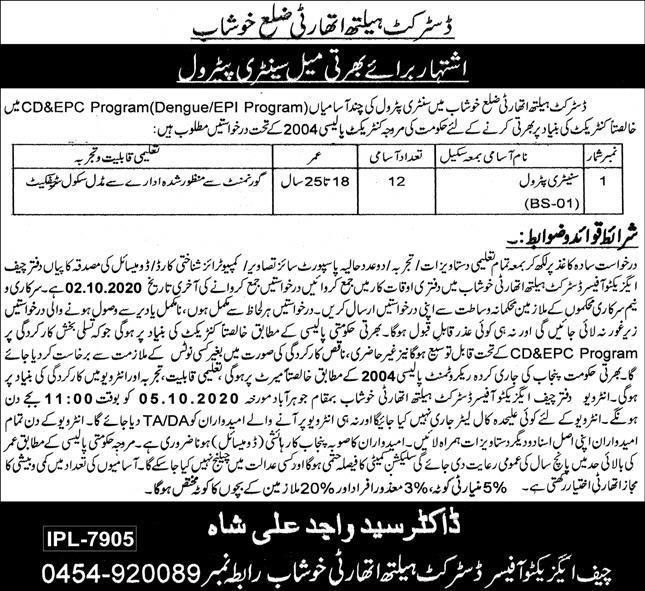 Health Department Govt of Punjab Sanitary Petrol Jobs ...